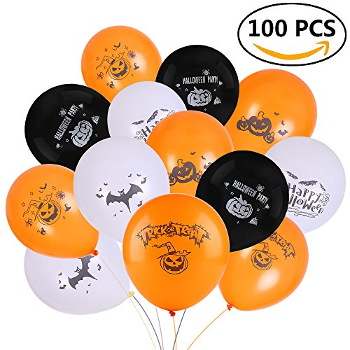 Halloween Decorations Balloon - Joseche 100 PCS 12 Inches Party Balloons - Skeleton Specter Pumpkin Balloons Orange Latex with a Hand Held Air Inflator (HB01 [100 (Halloween Orange Tips)