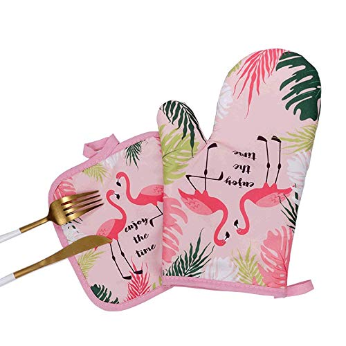 (Sohapy Oven Mitt & Potholders Set Kitchen Heat Resistant and Machine Washable for Cooking Baking Grilling and BBQ Decorative Flamingos (Pink))