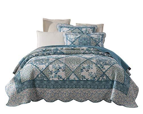 Tache 3 Piece Petal Dance Cotton Floral Patchwork Blue Quilt Bedspread Set, Queen