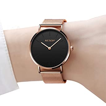 832f4ead5024 Amazon.com  Ultra Thin Womens Watch Rose Gold Quartz Watches for ...