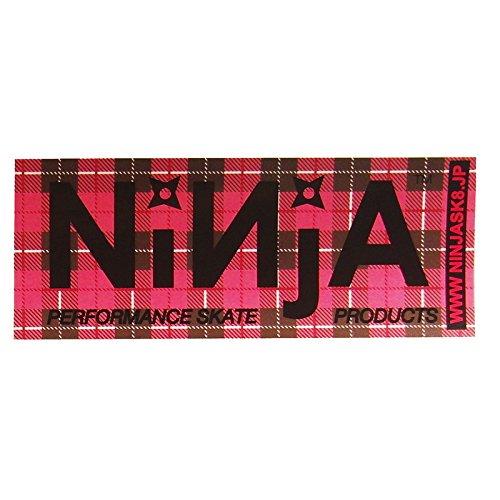 ニンジャ (NINJA) NINJA ステッカー (大12.8cm×5cm) ピンクチェック スケートボード ステッカー デカール