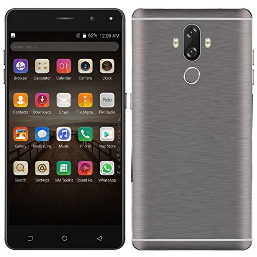 Padgene Unlocked 6 Inch Smartphone, Android 7.0 1.3GHz 4G FDD-LTE Fingerprint Cell Phone 16GB+2GB Dual Rear Camera Front Camera 8MP HD Screen Built-in Battery Support GPS WIFI Bluetooth (Gray)