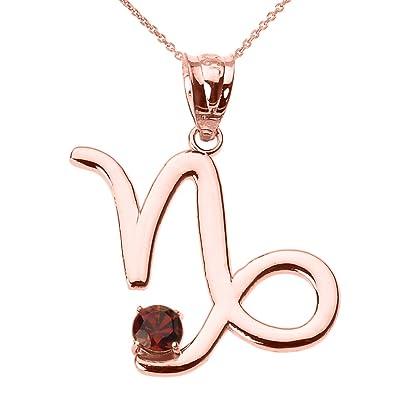 2cfe09e8c Amazon.com: Personalized 14k Rose Gold Genuine Garnet January Birthstone Capricorn  Zodiac Pendant Necklace, 16