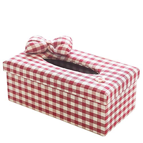 seemehappy Red White Plaid With Bow Fabric Tissue Box Cover,Facial Tissue Box Holder For Bedroom Dresser,Night Stands,Desks and Tables