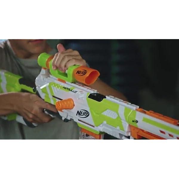 Longstrike-Nerf-Modulus-Toy-Blaster-with-Barrel-Extension-Bipod-Scopes-18-Modulus-Elite-Darts-3-Six-Dart-Clips-Amazon-Exclusive