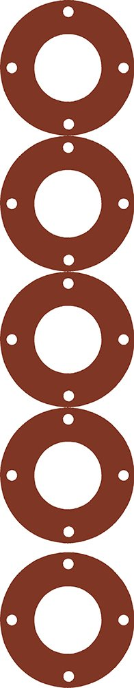 Sterling Seal CFF7237.300.125.150X5 7237 Red Rubber Full Face Gasket, 3.5'' ID, 3'' Pipe Size, 1/8'' Thick, Pressure Class 150# (Pack of 5) by Sterling Seal & Supply, Inc. (STCC)