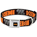 "Buckle-Down DC-WHE007-WL 18-32"" ""HEC-HEMI 426 Logo Full Color Black/Orange"" Dog Collar, Wide Large"