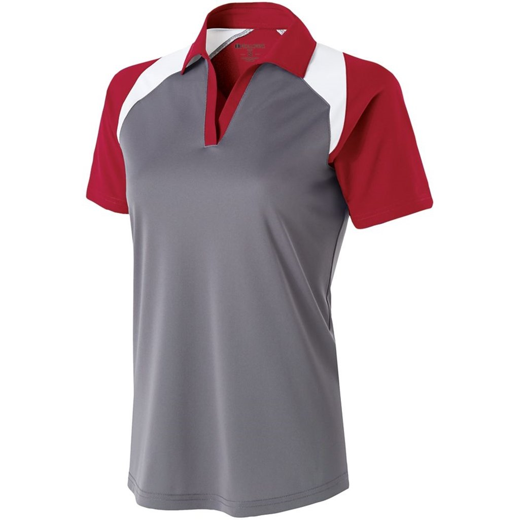 Holloway Ladies Dry Excel Shield Polo (Large, Graphite/Scarlet/White) by Holloway