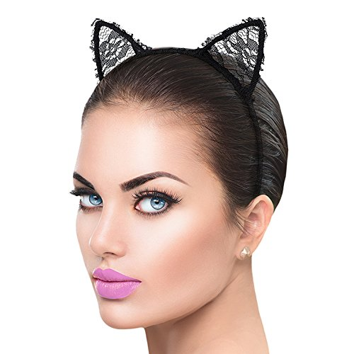 Lux Accessories Mesh Lace Fabric Pointed Cat Tiger Animal Ears Kitty Stretch Headband ()