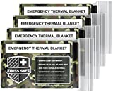Camouflage Emergency Mylar Blankets (4-Pack) – Perfect for Outdoor Camping, Hiking, Survivalist, Shelters, Preppers, Hunting, First Aid Kit