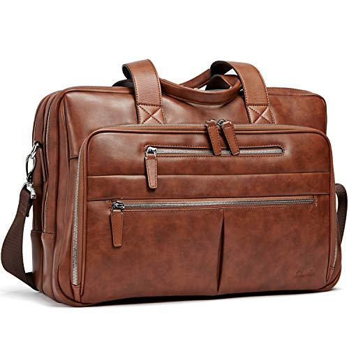 - CLUCI Leather Mens Briefcase Large Capacity 15.6 Inch Laptop Vintage Business Travel Shoulder Bag Brown