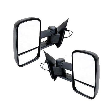 Vekwena  Pair Manual Telescoping Folding Black Textured Housing Towing Mirrors For
