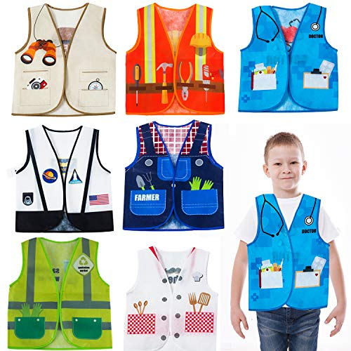 Occupation Dress Up (Tigerdoe Dress Up Vest - 7 Pc - Pretend Play School Set - Career Costumes - Kids Role Play Costume - Occupation Costume (7 Pc Career)
