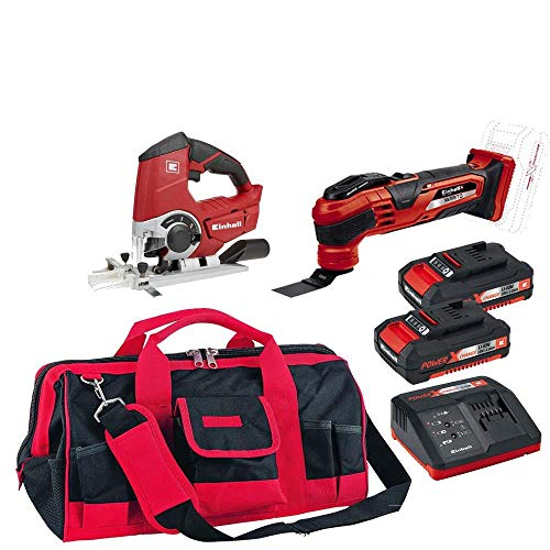 Multi-cortadora, serra tico-tico, bolsa e kit bateria einhell