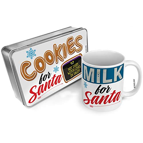 NEONBLOND Cookies and Milk for Santa Set Not Every Witch Lives in Salem Halloween Funny Bat Christmas Mug Plate Box -