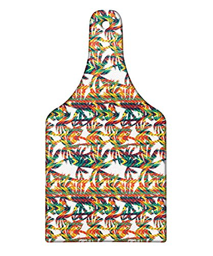 Lunarable Tropical Cutting Board, Artistic Colorful Design Palm Trees Summertime in the Hawaii Jungle Theme Leaves, Decorative Tempered Glass Cutting and Serving Board, Wine Bottle Shape, Multicolor by Lunarable