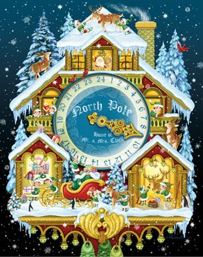 Christmas Cuckoo Clock Advent Calendar with Spinner Vermont Christmas Company