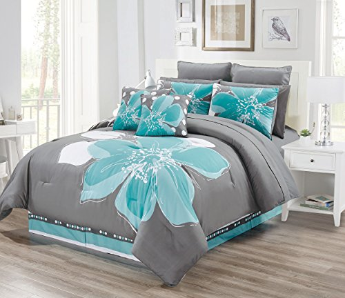 - 12 - Piece Aqua Blue, Grey, White Floral Bed-in-a-Bag California Cal King Size Bedding + Sheets + Accent Pillows Comforter Set