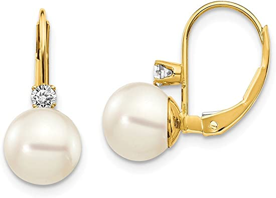 14k Yellow Gold 7mm Pearl Latch Back Earrings