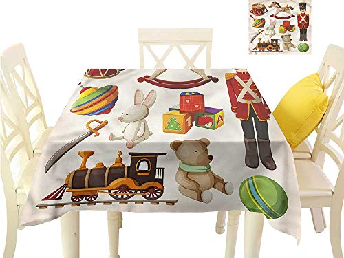 Fabric Dust-Proof Table Cover Wooden Toy Rocking Horse Drum Washable Polyester - Great for Buffet Table, Parties, Holiday Dinner, Wedding & More W36 x ()