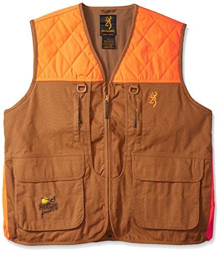 (Browning Pheasants Forever Vest, Khaki/Blaze, Large)