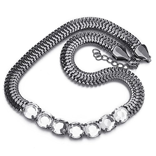 Refaxi Black Fashion Acrylic Snake Braided Chunky Crystal Statement Bib Pendant Chain Necklace Black