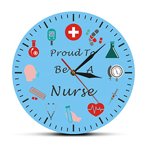 Zdtxkj Proud to Be A Nurse Or Your Text Personalized Nurse Wall Clock Can Be Customized Wall Clock Clinic Hospital Wall Decoration (Clocky Runaway Alarm Clock Blue)