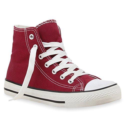 Dunkelrot Zapatillas Mujer Rojo altas Stiefelparadies RTFUqxS