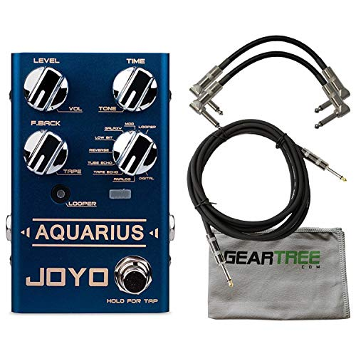 Joyo R Series R-07 Aquarius Delay and Looper Pedal w/Geartree Cloth and 3 Cable