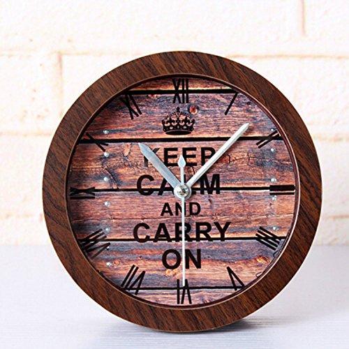 "UPC 743062079743, Alrens(TM) 4.7"" Letters Round Retro Wood Pattern Alarm Clock Desktop Clock Creative Silent Non-ticking Quartz 3D Desk Clock Home Decor Bedroom Vintage Wood Grain Clock Watches Art"