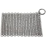 "FilterJungle Home Iron Cast Cleaner Chainmail Scrubber Made of Stainless Steel - Medium (7"" X 7"") - Fits to Tortilla Press, Cast Iron Pot, Stainless Steel Cleaner"