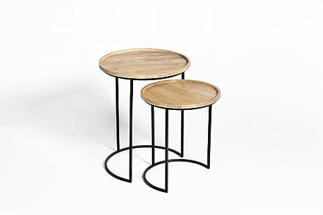 Tavolini Da Salotto Impilabili.Lifa Living Tavolini Da Salotto Impilabili Set Da 2 Tavolini Sovrapponibili In Legno E Metallo Tavolini Da Caffe Rotondi Tavolini A Incastro