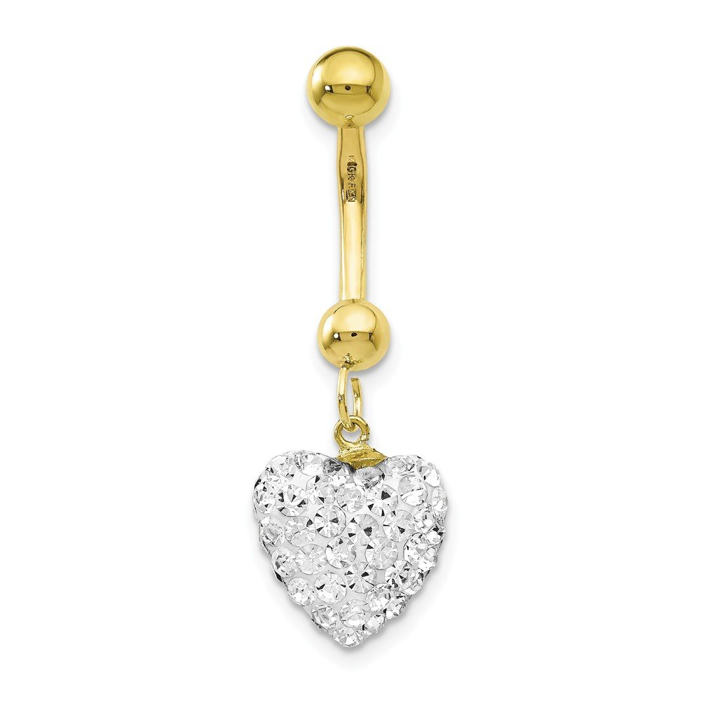 10k Yellow Gold With Dangle White Crystal Heart Belly Ring Dangle by JewelryWeb