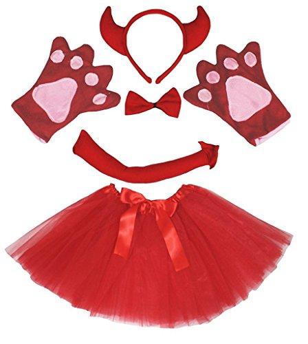 Petitebella Animal Headband Bowtie Tail Gloves Tutu 5pc Girl Costume (Red Devil) -