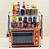 Pinjewelry Convenient and Practical Kitchen Shelf Microwave Oven Rack Kitchen Utensils Two-Layer Seasoning Storage Rack (Size : C)