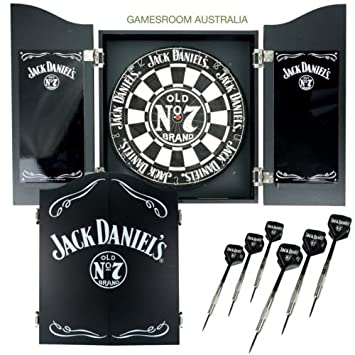 JACK DANIELS Dartboard Cabinet Set With Darts Man Cave Pool Room