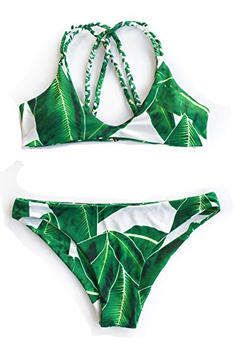 Cupshe Fashion Women's Jade Leaves Printing Halter Padding Bikini Set Beach Swimwear (S)