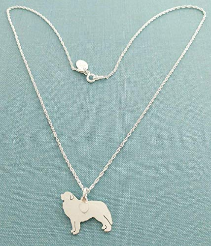 Great Pyrenees .925 Sterling Silver Dog charm Necklace Pet memorial silhouette Personalize Monogram ()
