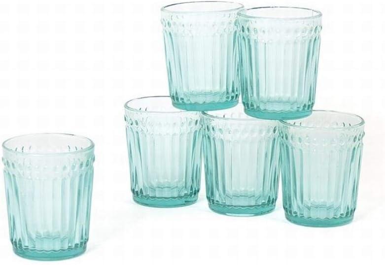 Gerimport Pack de 6 Vasos de Cristal Turquesa Medidas 9x9x10 cm Capacidad 300 ml