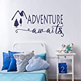 BATTOO Adventure Awaits Wall Decal Stickers - Adventure Quotes Travel Theme Wall Decor - Wanderlust Wall Decal - Mountain Wall Decal Bedroom Decor(dark blue, 30''WX15''H)