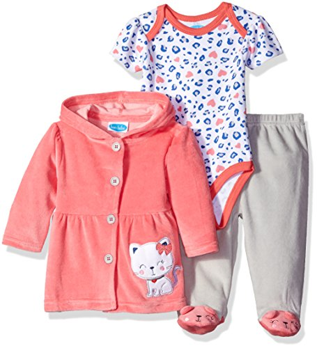 Velour Girls Pants Toddler (BON BEBE Baby Girls' 3 Piece Set with Velour Jacket Pant and Bodysuit, Pretty Kitten Coral, 6-9 Months)