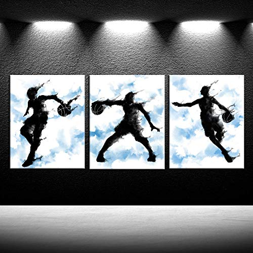(iKNOW FOTO 3 Pieces Canvas Wall Art Basketball Sports Poster Prints Giclee Artwork Stretched and Framed Ready yo Hang for Boys Room Baby Nursery Décor Kids Room Boys Gift)