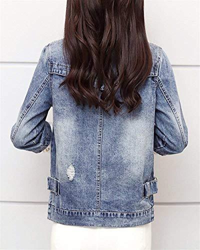 Donna Diamante Di Autunno Fit Stampato Blau Corto Giaccone Digitale Pezzi Elegante Jacket Giacche 2 Mode Pulsante Marca Jeans False Primaverile Con Slim Rivetto AnAfzWqS