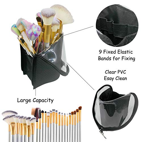 Black Travel Makeup Brush Holder, ANEMEL Pencil Pen Case Organizer Bag Clear Plastic Cosmetic Zipper Pouch Portable Waterproof Dust-Free Stand-Up Small Toiletry Stationery Bag with Divider