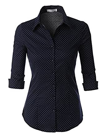 Le3no womens roll up 3 4 sleeve button down shirt with for How to roll up sleeves on women s dress shirt