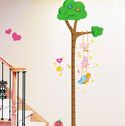 Lovely Bear Playing on the Vine Ladder Tree Growth Chart Height Chart Wall Decor Wallpaper Wall Sticker for Children Room (Wallpaper Growth Chart)