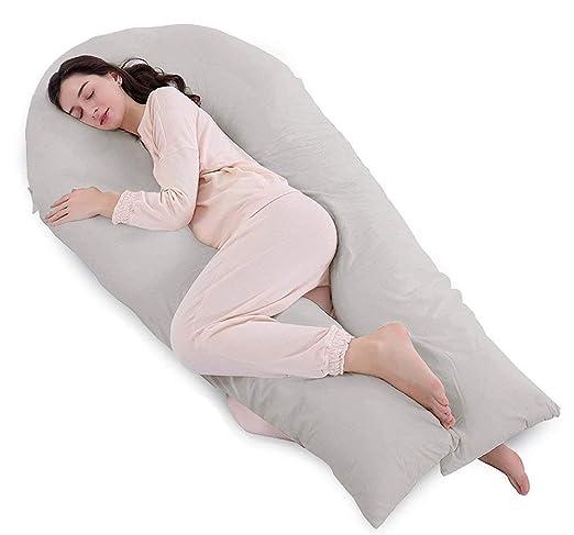 QUEEN ROSE Almohada de Embarazo de Cuerpo Completo y Almohada de Maternidad con Funda reemplazable y Lavable, Cotton, Grey, 165 x 80 cm