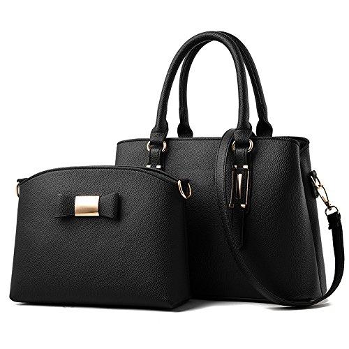 Yanjj New Women Handbag Shoulder Bag Soft Pu Leather Messenger Bag 2 Handpieces Shopping Bag Black1