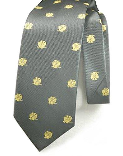 Black Background Necktie (Scottish Rite Masonic Neck Tie - Black Background Polyester long tie - Double Eagle 32nd Degree pattern design for Freemasons (Black))