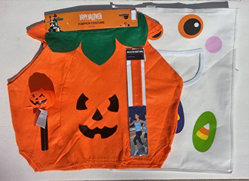 Children's Pumpkin Costume with Flashlight, Boo Treat Bag & Safety